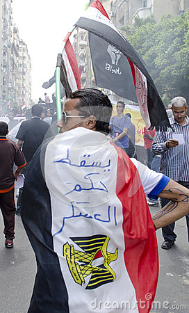 Egyptians demonstrating against Military Council Editorial Photography