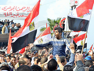 Egyptians demonstrating against military rule Editorial Photo