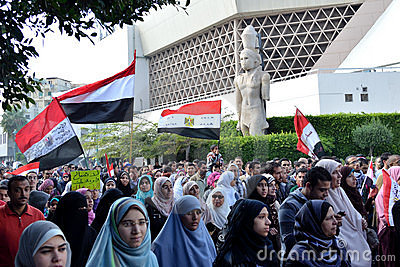 Egyptians demonstrating against military rule Editorial Image