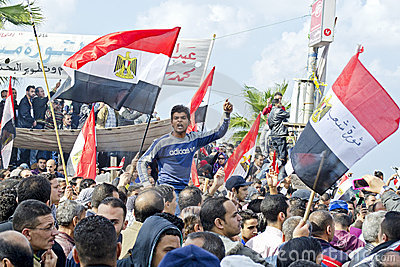 Egyptians demonstrating against military rule Editorial Stock Photo