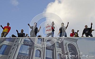 Egyptians demonstrating against president Morsi Editorial Image