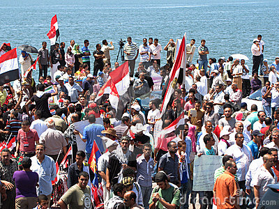 Egyptians demonstrators calling for reform Editorial Stock Photo