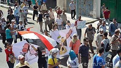Egyptians demonstrators calling for reform Editorial Image