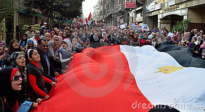 Egyptians protesting army brutality against women Editorial Photo