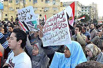Egyptians protesting army brutality against women Editorial Stock Photo