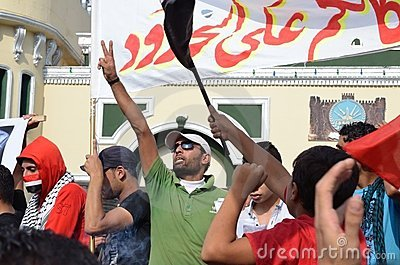Egyptians protesting martial law Editorial Stock Image