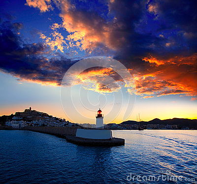 Free Eibissa Ibiza Town Sunset From Red Lighthouse Royalty Free Stock Photography - 25417567