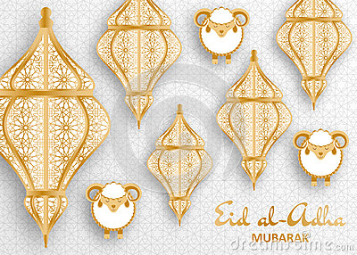 Eid Al Adha Background. Islamic Arabic lantern and sheep. Greeting card Vector Illustration