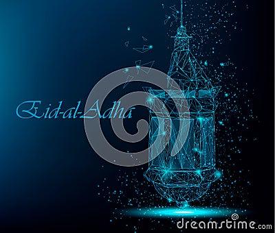 Eid Al Adha Beautiful Greeting Card With Traditional Arabic Lantern. Vector  Illustration