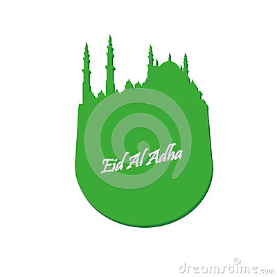 Eid Al Adha. Lettering composition of moslim holy month with mosque building. Vector Illustration