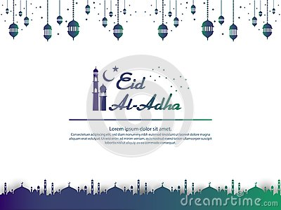 Eid al Adha Mubarak islamic greeting card design with dome mosque and hanging lantern element in paper cut style. background Vecto Vector Illustration