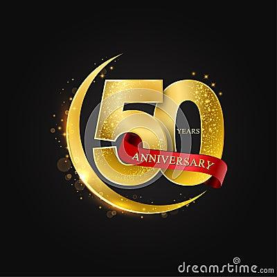 Eid al Adha 50 years anniversary.Pattern with arabic golden, gold half moon and glitter. Cartoon Illustration