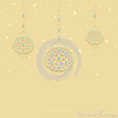 Free Eid-al-fitr Background With Stars Moons And Decorated Lamps Stock Image - 73018121