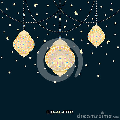 Free Eid-al-fitr Background With Stars Moons And Decorated Lamps Royalty Free Stock Image - 73018126