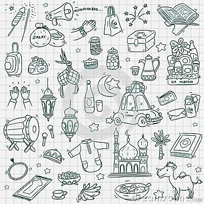 Doodle element eid mubarak Vector Illustration