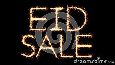 Eid Sale Text Sparkler Glitter vonkt de Animatie van de Vuurwerklijn stock video