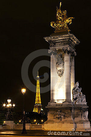 Eiffel Tower and Alexander III bridge. Paris. Editorial Stock Photo