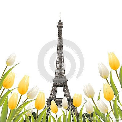 Free Eiffel Tower And Tulip Bouquet. Stock Images - 85082844