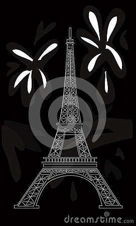 Eiffel tower on black