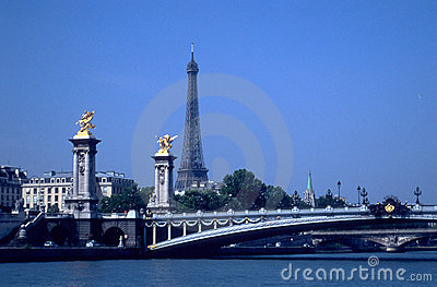 Eiffel tower and bridges over Seine
