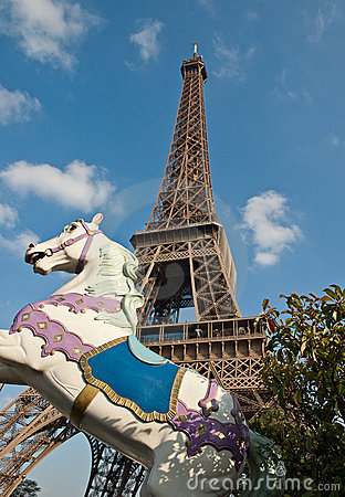 The Eiffel Tower and carrousel horse.
