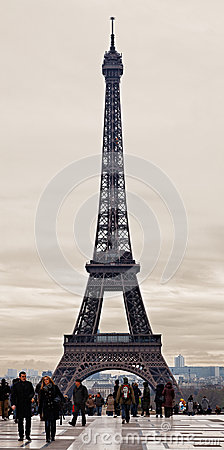 Eiffel Tower in a Cloudy Winter Day Editorial Stock Photo