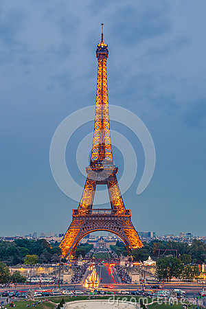 Eiffel Tower at dusk Editorial Photography