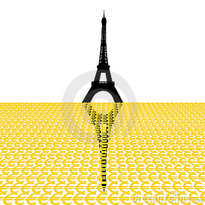Eiffel tower with euros