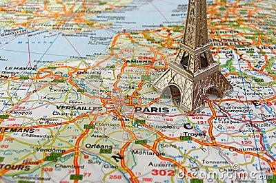 Eiffel tower on france map