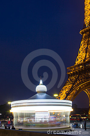 Eiffel Tower and his caroussel Editorial Stock Photo