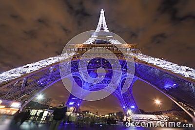 Eiffel Tower illuminated at night Editorial Stock Image