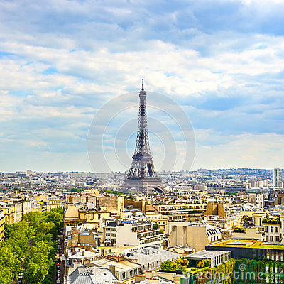 Free Eiffel Tower Landmark, View From Arc De Triomphe. Paris, France. Stock Photography - 35999452