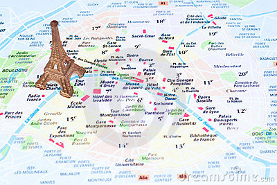 Eiffel Tower on a map of Paris Editorial Stock Image