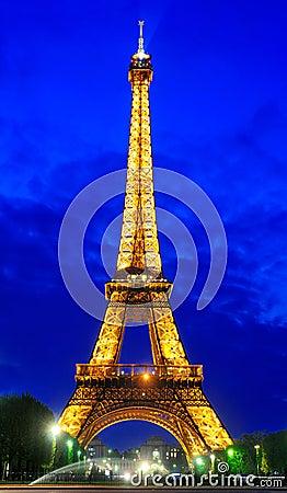 Eiffel Tower by Night Editorial Photo
