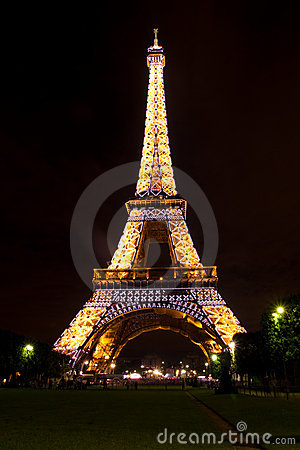 The Eiffel Tower at night Editorial Stock Image