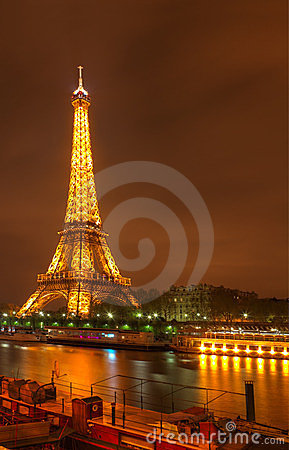 Eiffel Tower by night Editorial Image
