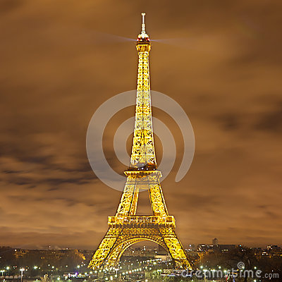 Eiffel Tower at Night Editorial Stock Image