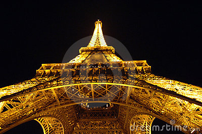 Eiffel Tower at night Editorial Photo