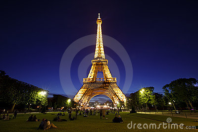 Eiffel Tower in night light, Paris, France. Editorial Stock Image