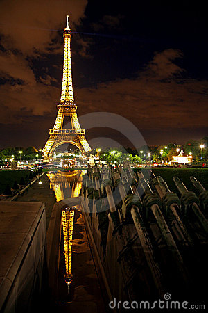 Eiffel Tower at night, Paris. Editorial Stock Image