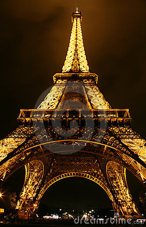Eiffel Tower at night, Paris. Editorial Photography