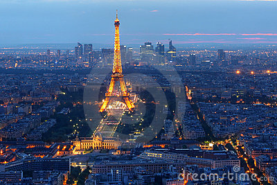 Eiffel Tower at night, Paris, France Editorial Stock Photo