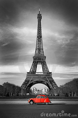 Picture  Eiffel Tower on Royalty Free Stock Photo  Eiffel Tower With Old French Red Car  Image