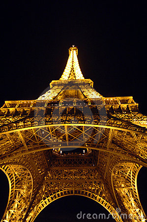 Eiffel Tower Paris France at night Editorial Image