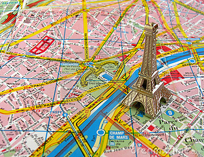 Eiffel tower on Paris map