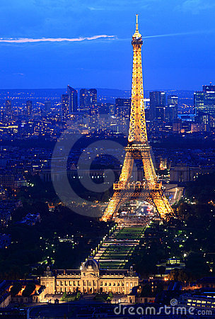 Eiffel Tower Paris night Editorial Photo