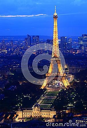 Free Eiffel Tower Paris Night Stock Image - 20401241