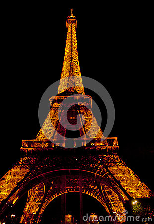 The Eiffel Tower in Paris by Night Editorial Image