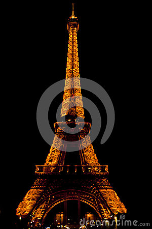 The Eiffel Tower in Paris by Night Editorial Stock Image