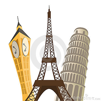 Eiffel tower, pisa tower and big ban